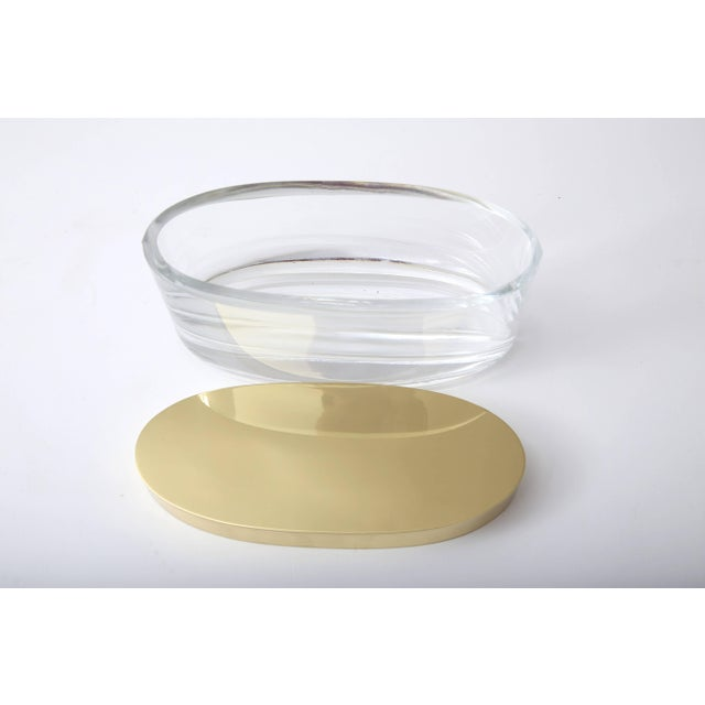 Mid 20th Century Oval-Form Lidded Box in Crystal and Brass by Fontana Arte For Sale - Image 5 of 8
