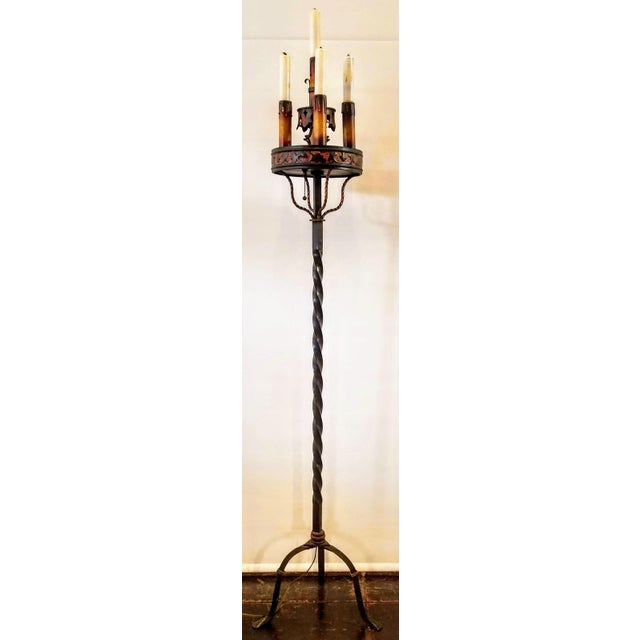 Vintage 1920s Spanish Colonial Revival Monterey Style Polychromed Wrought Iron Floor Lamp Torchiere For Sale - Image 12 of 12