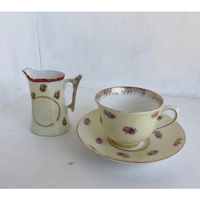 Colclough Tea Cup and Saucer Set, With Matching Creamer Vintage English Bone China, Pale Yellow with Pink Cottage Roses,...
