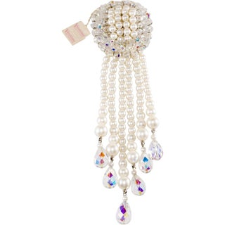 """Vendome Vintage 1950s Huge 7.5"""" Brooch Pin Faux Pearls Crystals Statement Dangles For Sale"""