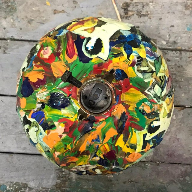 1970s 1970s Abstract Painted Nudes Collaged Lamp For Sale - Image 5 of 12