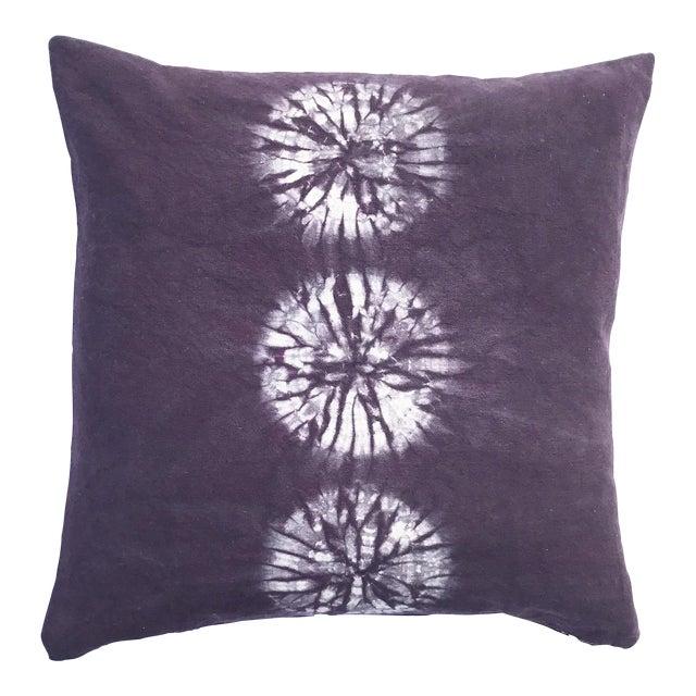 Aubergine Nui Shibori Circle Pillow Cover For Sale
