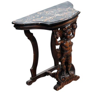 Renaissance Style Marble Top Hall Table For Sale