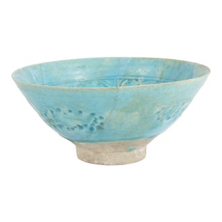 Footed Conical Form Kashan Turquoise Glazed Pottery Bowl For Sale