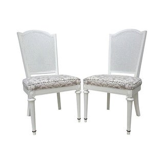 Neoclassical Arched Cane-Back Side Chairs in Kravet Linen - a Pair