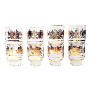 Set of 8 Vintage Gilt Sailing Ships Nautical Theme Cocktail Glasses For Sale
