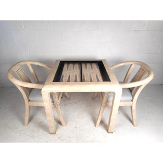Mid-Century Maitland Smith Tessellated Stone Game Table With Two Chairs Preview
