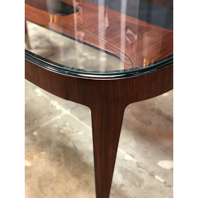 Brass Midcentury Dining Table in Cherrywood by Paolo Buffa for Arrighi, Italy, 1940s For Sale - Image 7 of 12