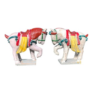 Chinese Tang Style Ceramic Horses - a Pair For Sale