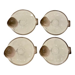 Vintage French Oyster Plates by Longwy Made in Paris For Sale