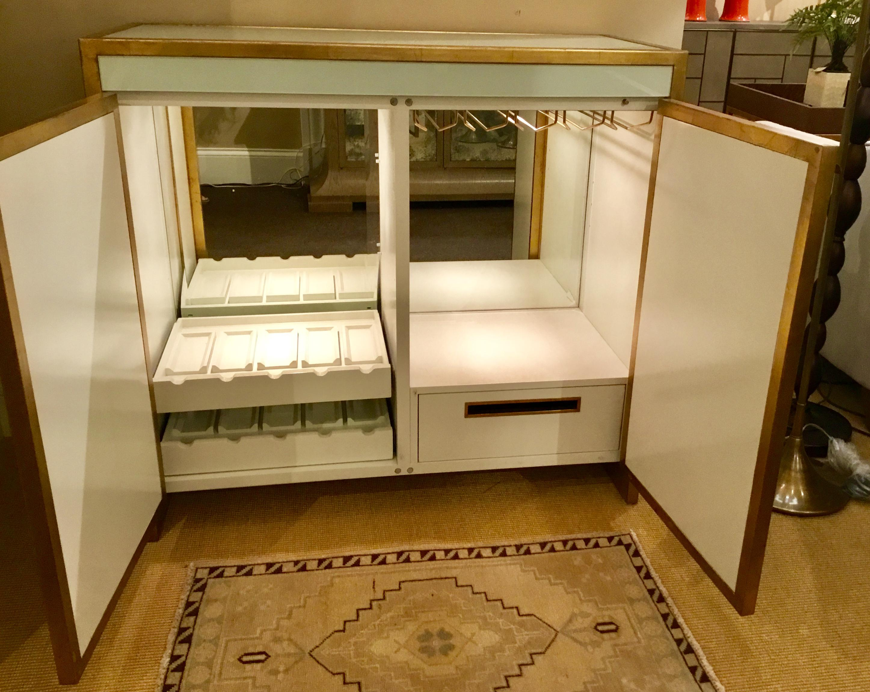 Stylish, Modern, Contemporary, Bar Cabinet, Glass With Gold Leaf Trim, Two