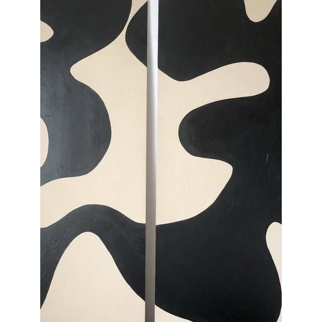 Hannah Polskin original 2018 black and beige abstract acrylic painting on plywood. Wave motif with monochrome color...