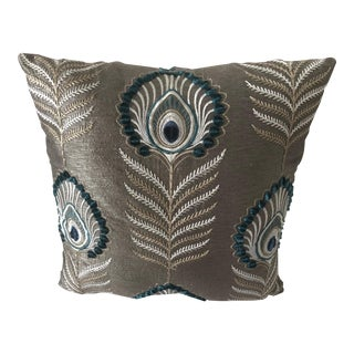 """Jane Churchill Taupe and Teal New, Custom Made 15.5"""" Square Pillow For Sale"""