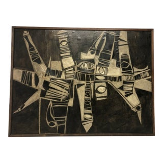 Midcentury Abstract Multimedia Painting by J.S.DeYoe For Sale
