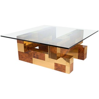 Paul Evans Cityscape Coffee Table in Brass and Burled Wood Veneer, 1970s For Sale
