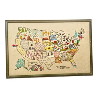 Vintage U.S. Map Crewelwork