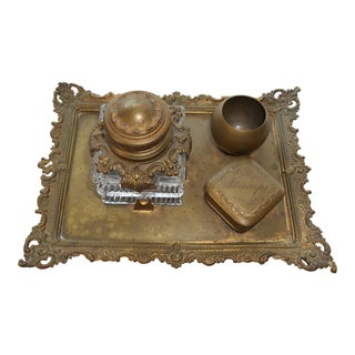 Antique Brass Art Nouveau Victorian Desk Set with Ink Well, Feather Holder, Stamp Box, and Tray For Sale