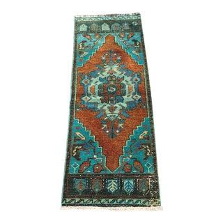 Turquoise Vintage Turkish Area Rug For Sale