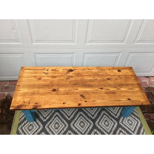 Boho Chic Reclaimed Heart-Pine Coffee Table For Sale - Image 4 of 7