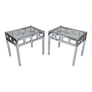 Chrome & Glass Modern Side Tables - a Pair