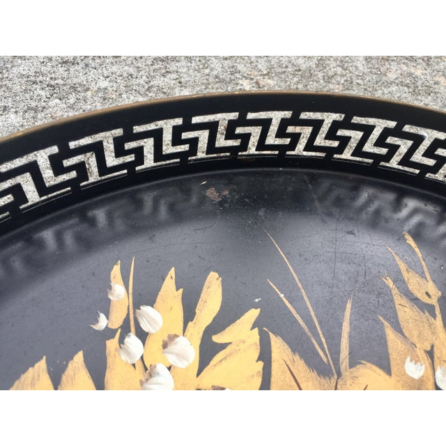 Traditional Vintage Hand-Painted Greek Key Pierced Gold Roses Tole Tray For Sale - Image 3 of 6