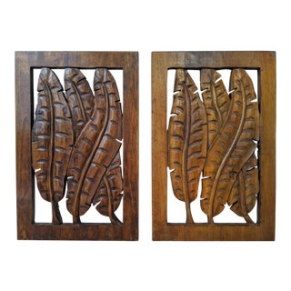 Boho Chic Tropical Hand Carved Wood Leaf Wall Hanging Panels - a Pair For Sale