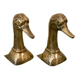Vintage Duck Solid Brass Bookends by Sarreid Ltd - a Pair For Sale