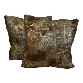 """Etched """"Yma"""" Buffed Metallic Leather Pillows - a Pair For Sale"""