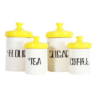 Vintage Mid Century Ceramic Kitchen Canisters - Set of 4 For Sale