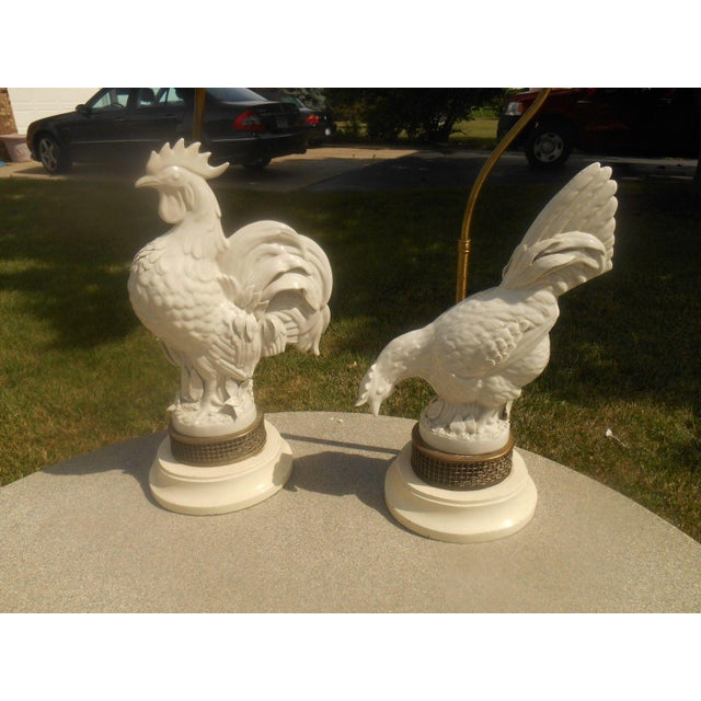 Mid Century Porcelain Rooster Table Lamps - Pair - Image 3 of 6