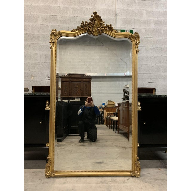 Gold French Louis XV Giltwood Mirrors With Facetted Glass C.1900s For Sale - Image 8 of 13
