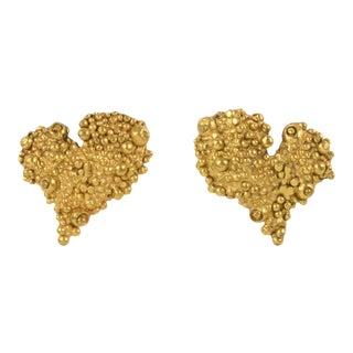 Christian Lacroix Paris Heart Clip on Earrings Textured Gilt Metal For Sale