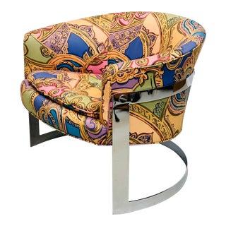 Mid Century Modern Chrome Flat Bar Cantilever Lounge Chair by Designer Milo Baughman For Sale