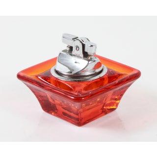 Vintage Mid Century Modern Viking Orange Glass Table Lighter Preview