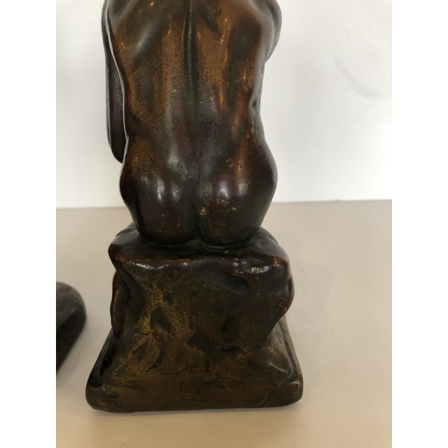 Bronze Clad Male Nude Bookends For Sale - Image 10 of 13