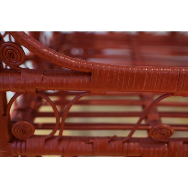 Red 1970s Boho Chic Red Rattan Bohemian Cart For Sale - Image 8 of 12