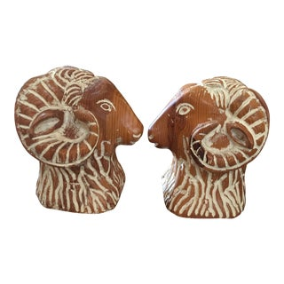 Sarreid Carved Wood Ram Head Bookends-A Pair For Sale