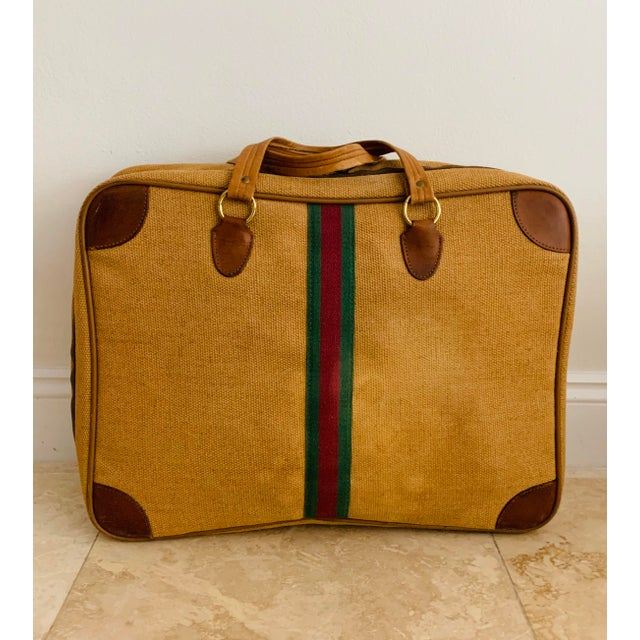 Vintage Italian Style Set of Luggage Jute and Leather, Set of 3 For Sale In Miami - Image 6 of 13