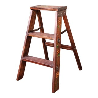 Vintage Hand-Painted Wooden Step Ladder For Sale