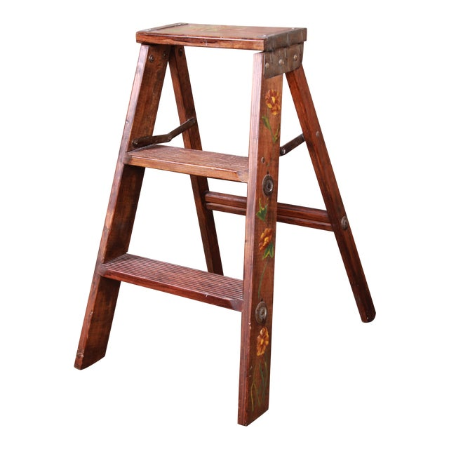 Vintage Hand-Painted Wooden Step Ladder For Sale