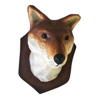 Folk Art Nickey Kehoe Paper Taxidermy Fox Wall Accent