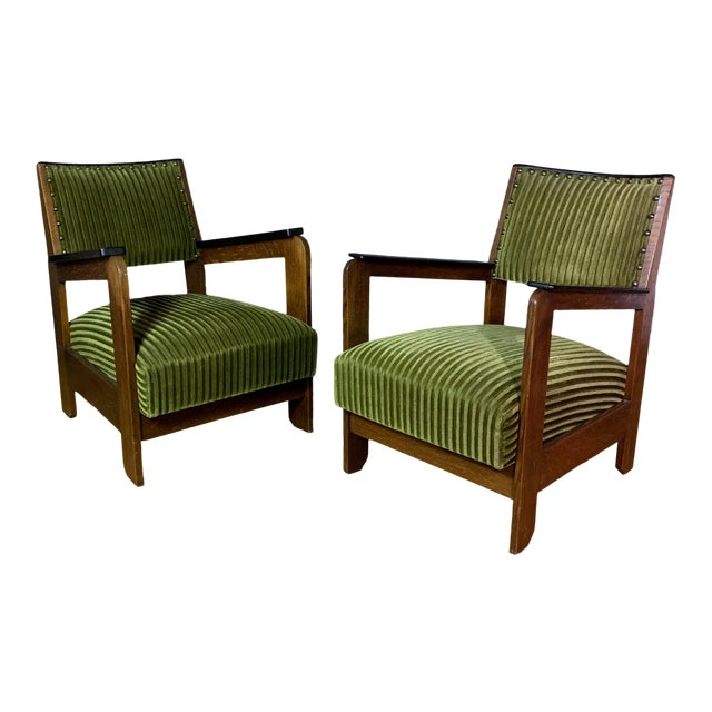 Pair 1940s Wenge Wood Armchairs, Corduroy & Rosewood For Sale