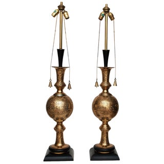 1950's Very Tall Indo-Persian Lamps- a Pair For Sale