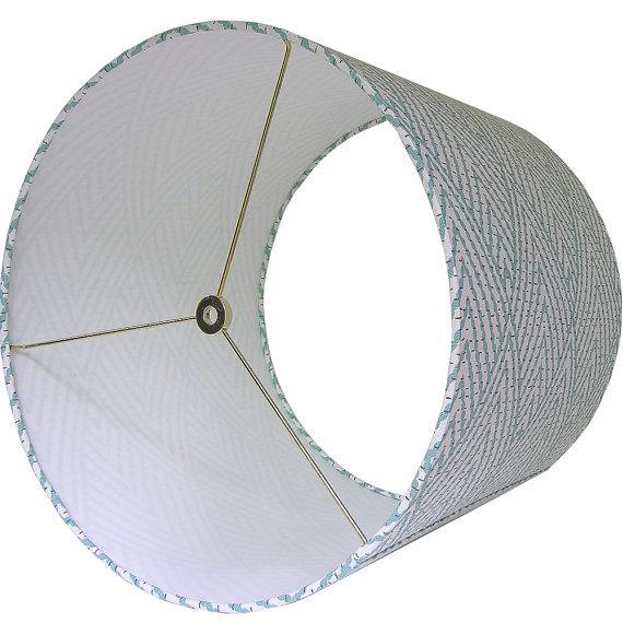 Boho Chic Large Lacefield Designs Tahitian Stitch Aqua Custom Drum Lamp Shade For Sale - Image 3 of 4