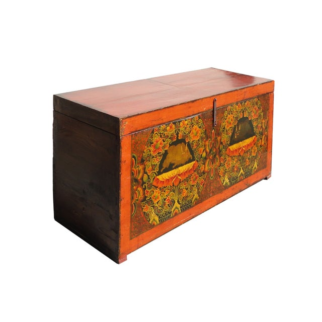 Antique Tibetan Elm Wood Graphic Storage Trunk - Image 1 of 7