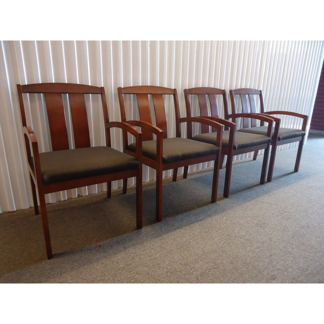 Kimball Dining Arm Chairs With Brown Fabric - Set of 4 For Sale - Image 4 of 13