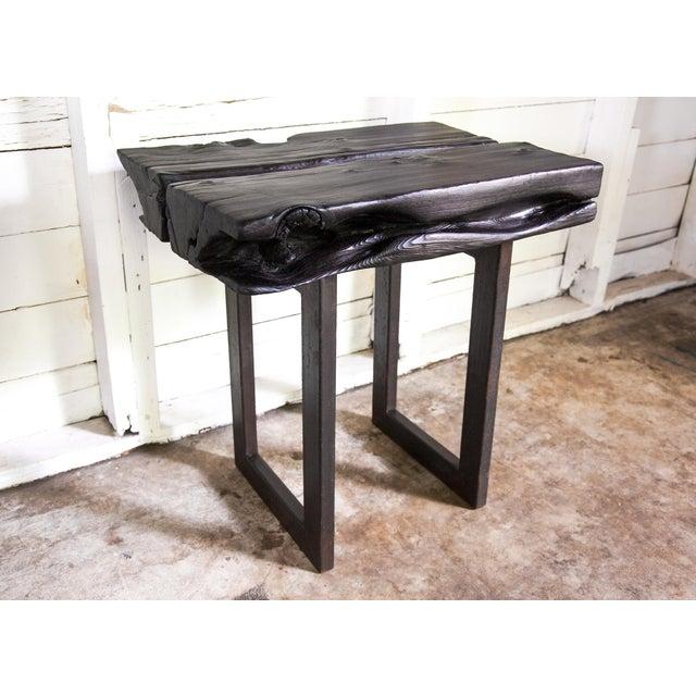 Asian Modern Yakisugi Wood and Metal Side End Table For Sale - Image 9 of 13