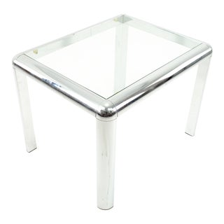 Milo Baughman Style Mid Century Chrome and Glass Side End Table For Sale