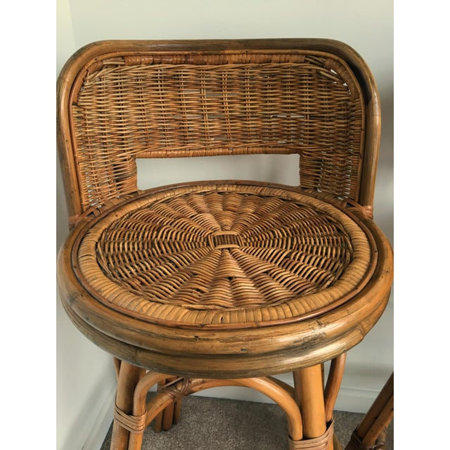 Vintage Boho Bamboo Swivel Counter Stools - A Pair - Image 3 of 6