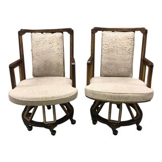 1970s Vintage Flicks Reed Captain's Chairs- A Pair For Sale